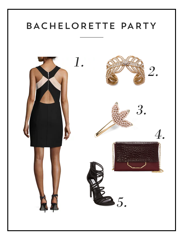 Bachelorette party outfit with Elizabeth and James Elliot Sleeveless Ponte Mini Dress in Black/White, Lulu Frost Goldtone Drift Cuff, Lulu Frost Tuileries Hair Clip, Louise et Cie Towa Chainlink Convertible Clutch in Light Brown, and Steve Madden Women's Santi Strappy Sandals in Black
