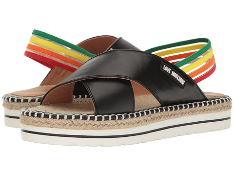 LOVE Moschino Rainbow Strap Sandal in Black