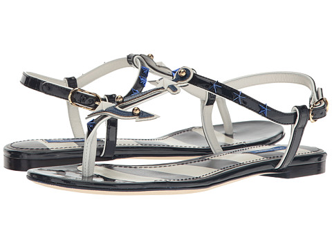 Dolce & Gabbana Thong Sandal with Anchor/Star in White/Navy