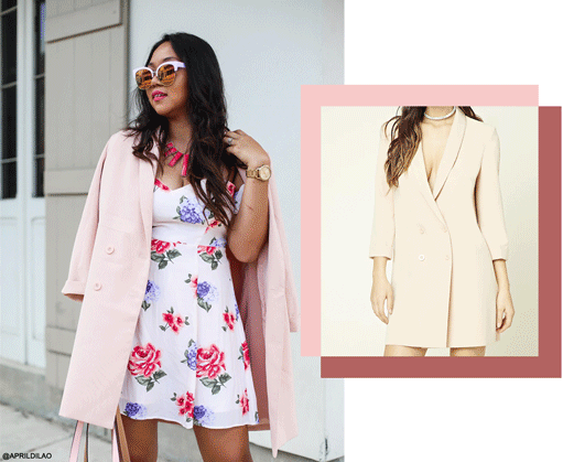 Aprildilao in Forever21 Double-Breasted Longline Blazer in Pink
